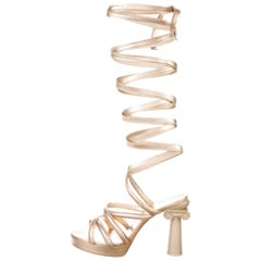 Chanel NEW Runway Champagne Gold Leather Tie Up  Evening Sandals Heels in Box