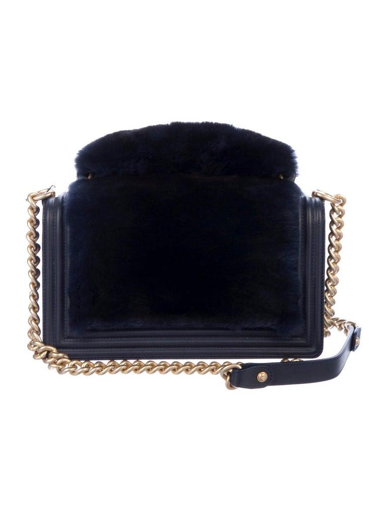 Black Chanel NEW Runway Dark Blue Leather Fur Gold Boy Evening Shoulder Flap Bag For Sale