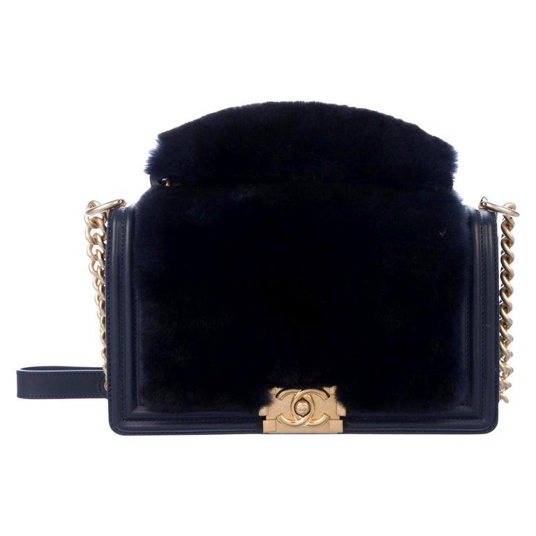 Chanel NEW Runway Dark Blue Leather Fur Gold Boy Evening Shoulder Flap Bag For Sale