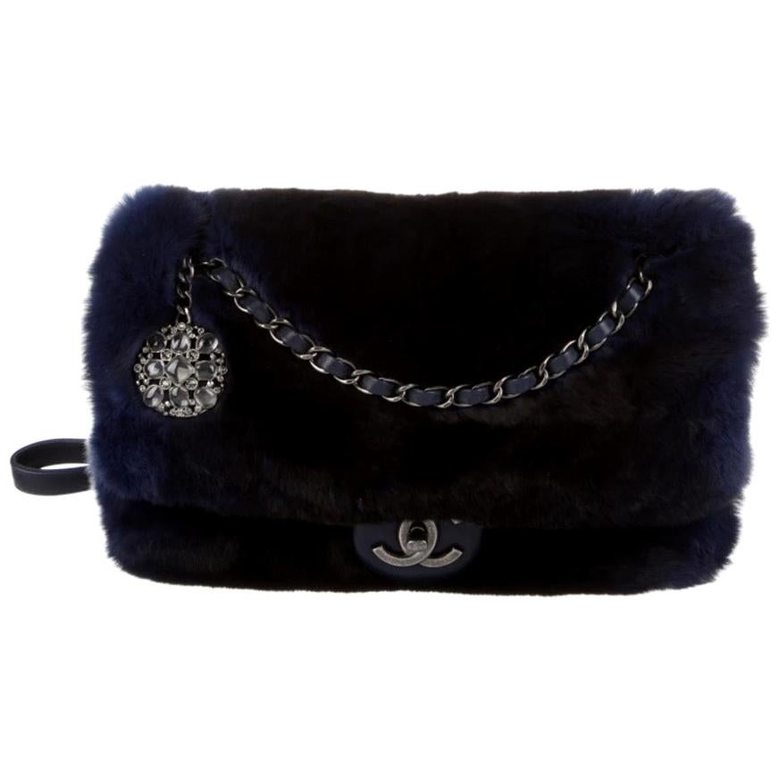 Chanel NEW Runway Dark Blue Leather Fur Silver Crystal Evening Shoulder Flap Bag