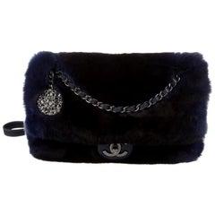 Chanel NEW Runway Dark Blue Leather Fur Silver Crystal Evening Shoulder Flap Bag