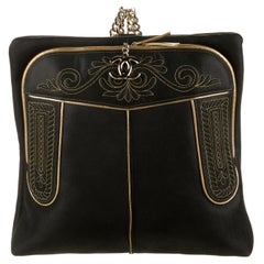 Chanel NEW Runway Embroidered Black Leather Gold Chain Shoulder Travel Backpack