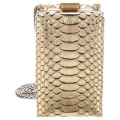 Chanel NEW Runway Gold Exotic Snakeskin ChainEvening Shoulder Box Bag