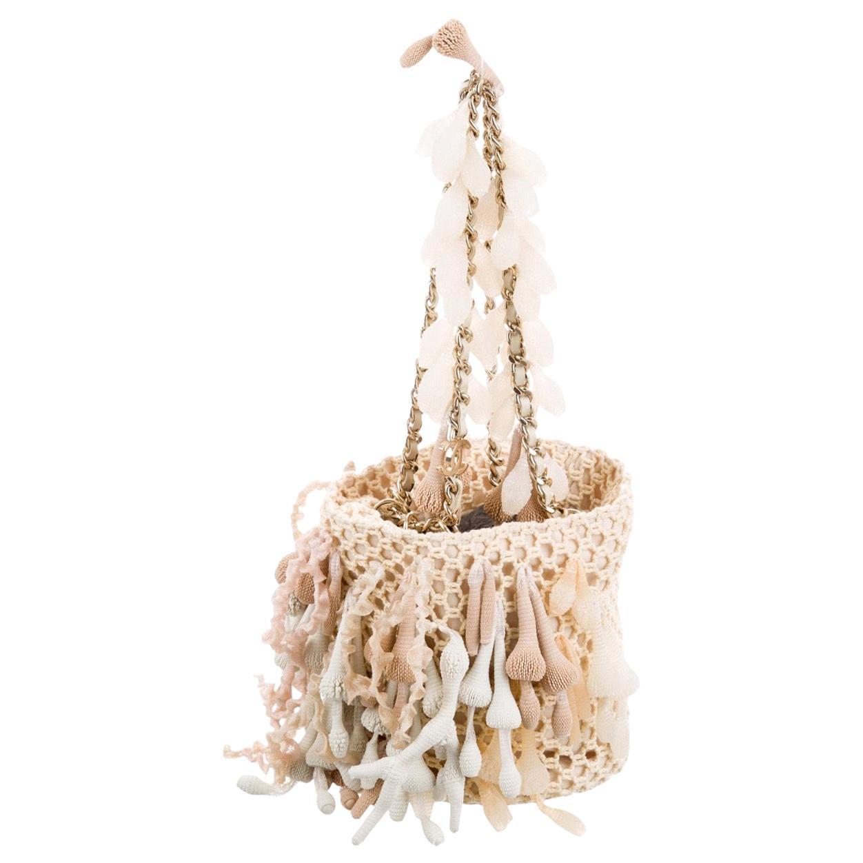 Chanel NEW Runway Ivory Crochet Small Mini Top Handle Satchel Pochette Bag W/Box