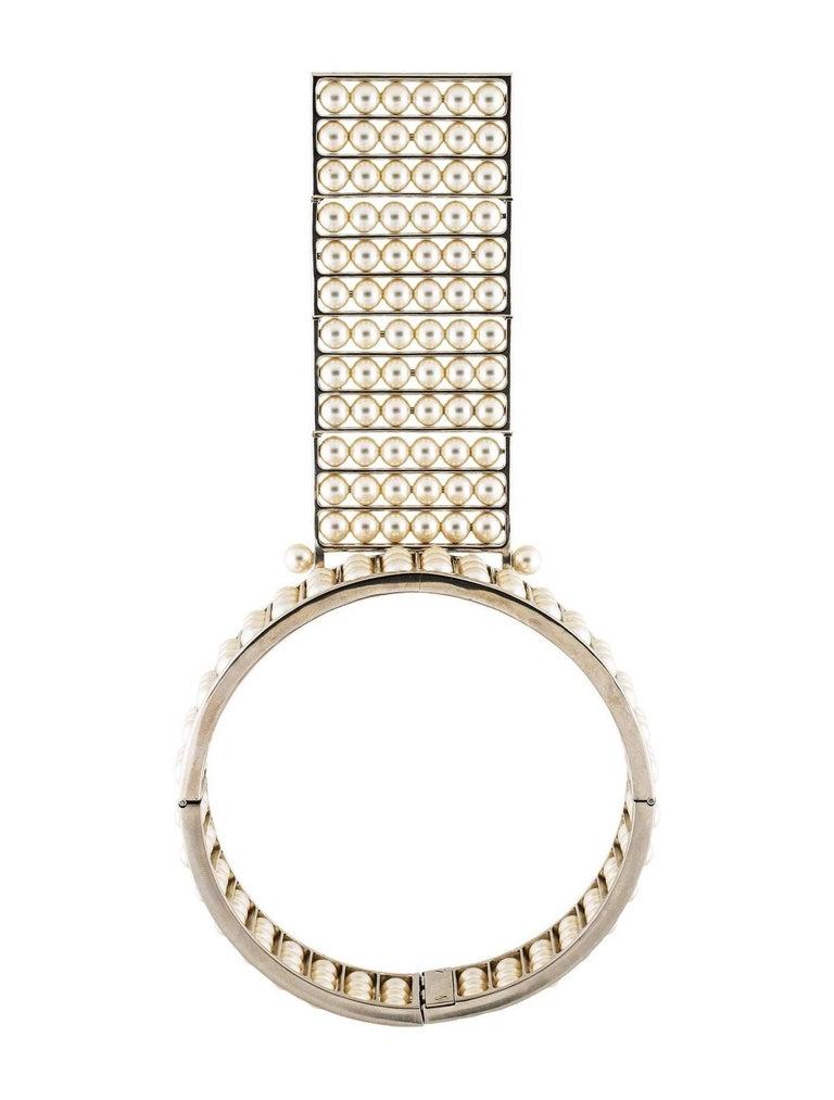 Women's Chanel NEW Runway Multi Pearl Silver Evening Choker Drape Necklace in Box For Sale