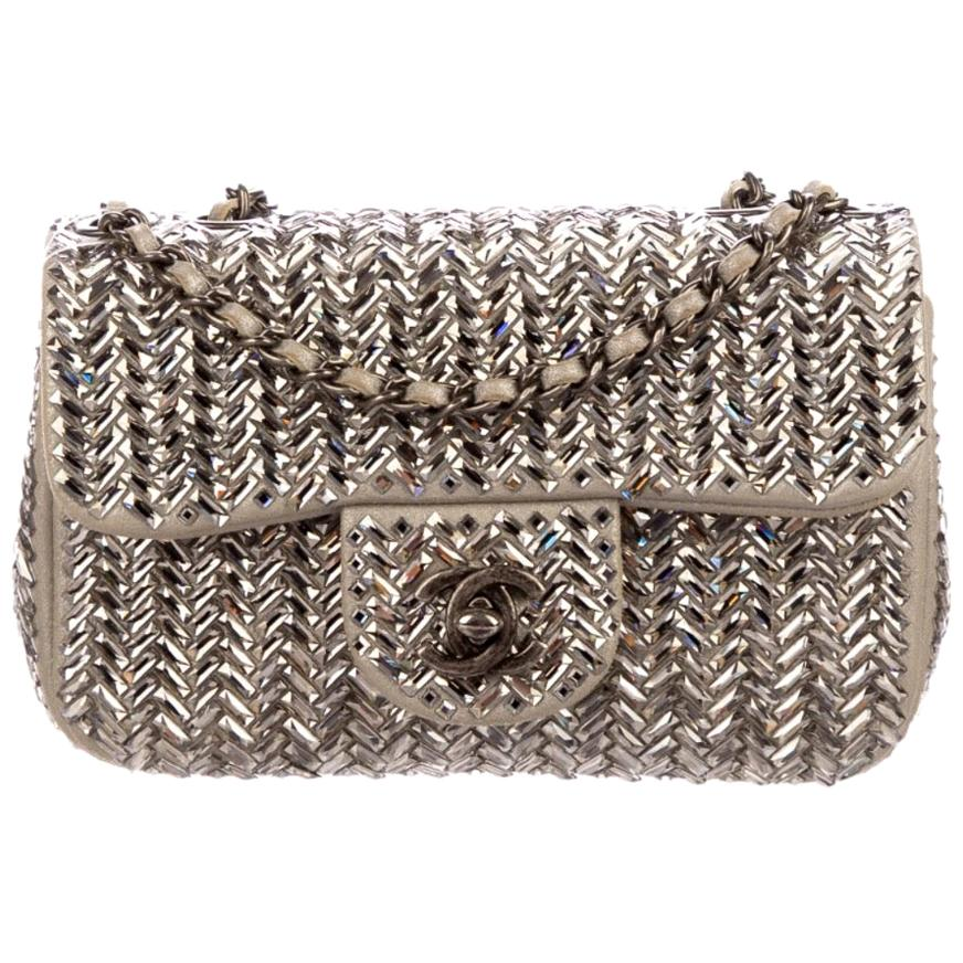 Chanel NEW Runway Nude Taupe Crystal Silver Small Evening Shoulder Flap Bag