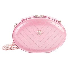 Chanel NEW Runway Pink Leather Gold Chain Small Evening Shoulder Bag