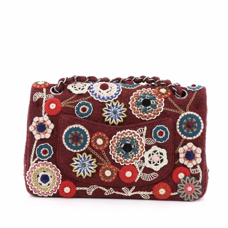 Women's Chanel NEW Runway Red Embroidered Tapestry Evening Shoulder Flap Bag in Box For Sale