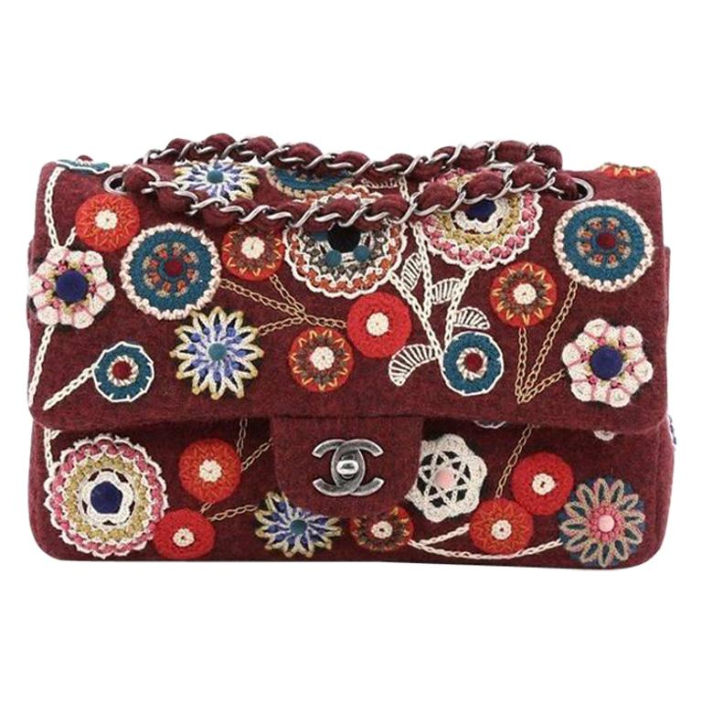 Chanel NEW Runway Red Embroidered Tapestry Evening Shoulder Flap Bag in Box For Sale
