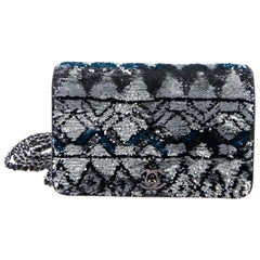 Chanel NEW Silver Blue Sequin Small WOC Wallet Chain Evening Shoulder Flap Bag