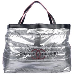 Chanel NEW Silver Quilted Canvas Leather Large Travel Weekender Shopper Tote Bag