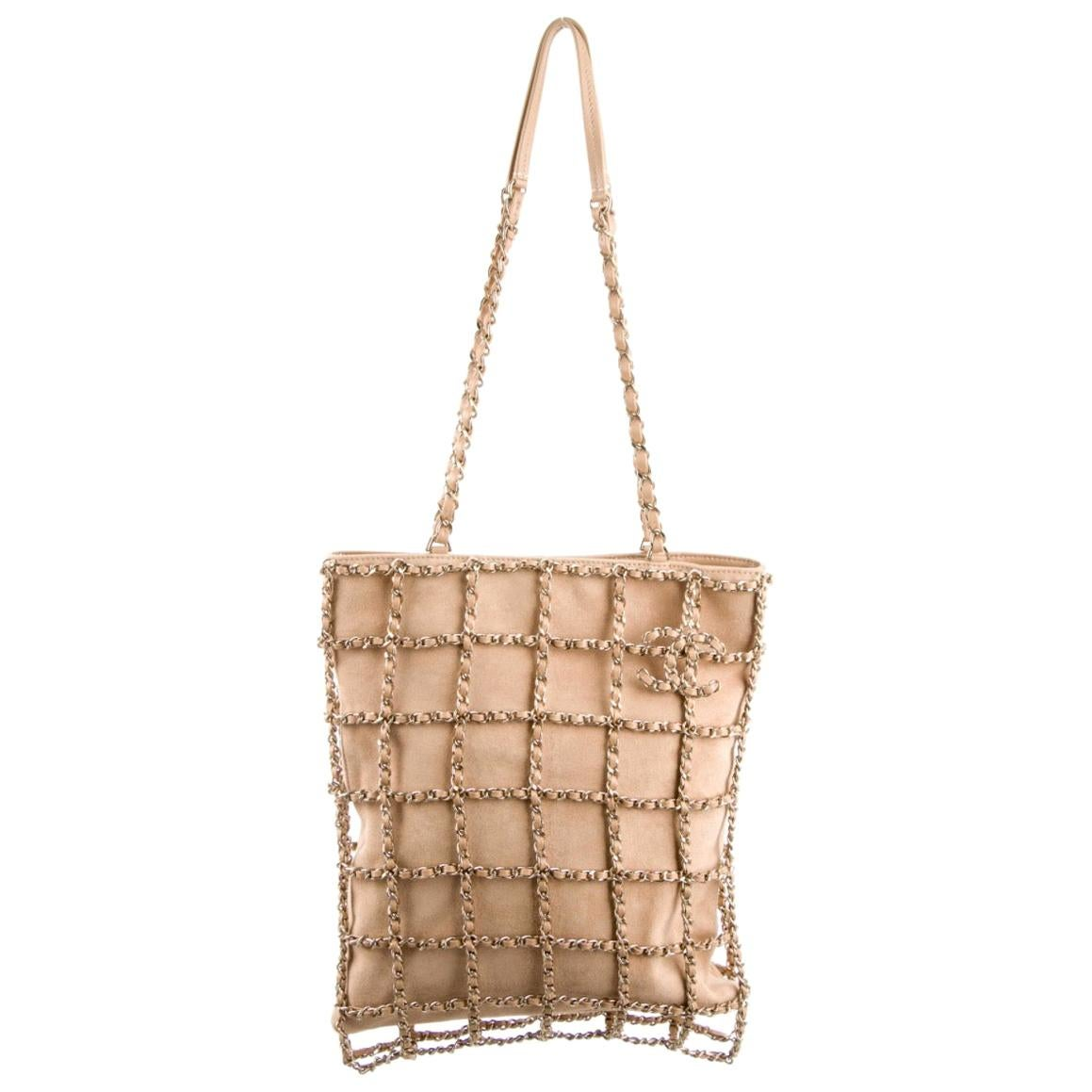 Chanel NEW Tan Beige Nude Suede Gold Chain Evening Satchel Top Shoulder Bag
