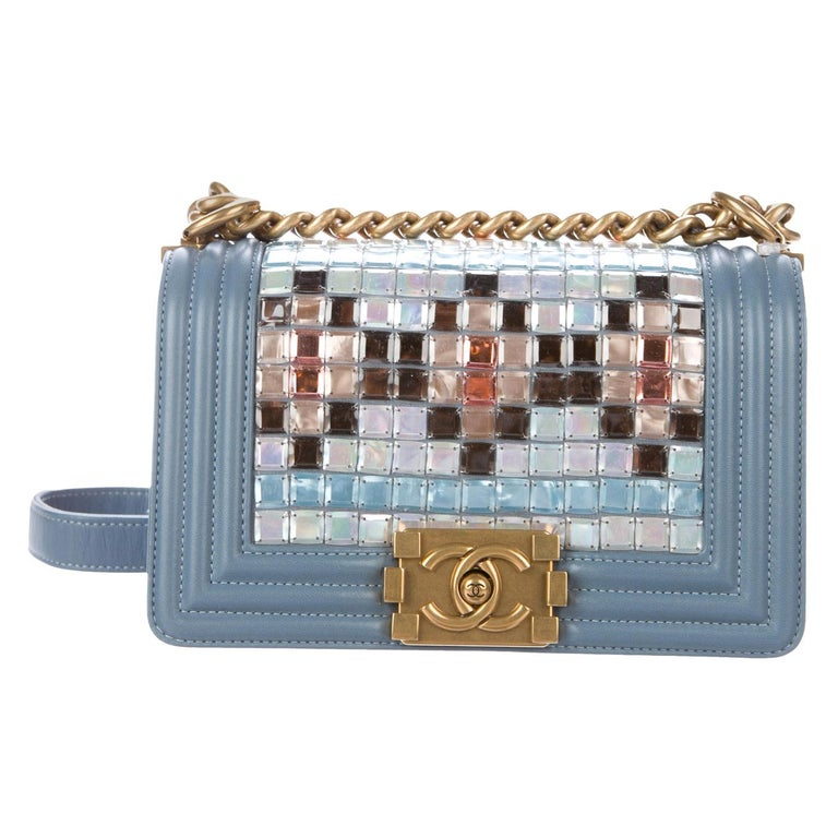 Chanel NEW Tiffany Blue Leather MultiColor Small Evening Shoulder Flap Bag W/Box