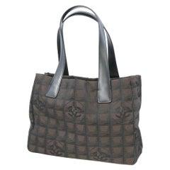 CHANEL New Travel Line tote PM Womens tote bag A20457 dark brown x black