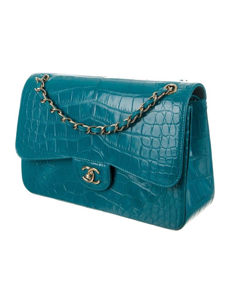 Blue Chanel NEW Turquoise Alligator Exotic Skin Gold Large Shoulder Flap Bag in Box For Sale