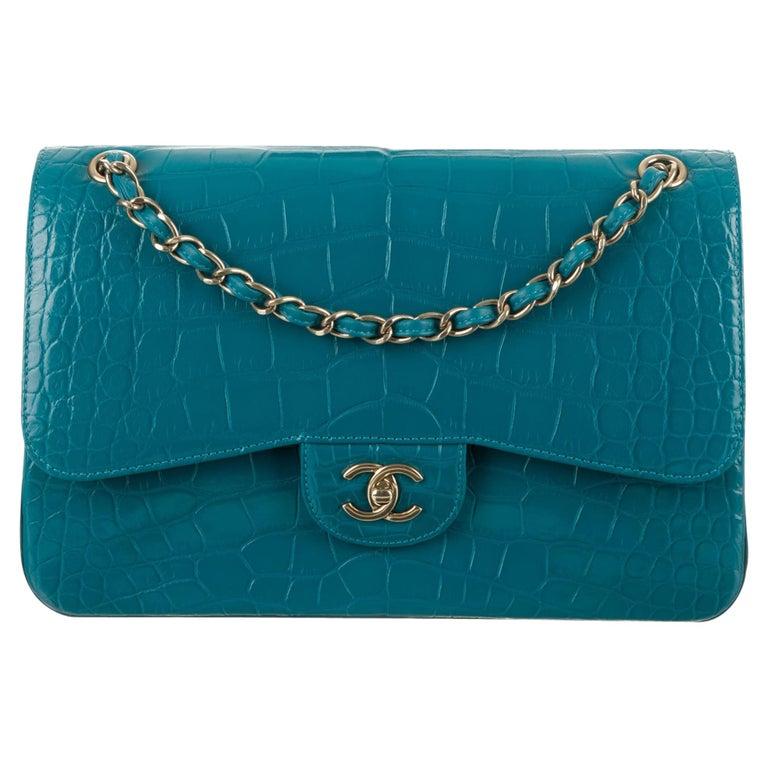 Chanel NEW Turquoise Alligator Exotic Skin Gold Large Shoulder Flap Bag in Box For Sale