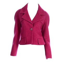 Chanel New With Tags 2018 Raspberry Pink Wool Blend Jacket W Camellia Lining