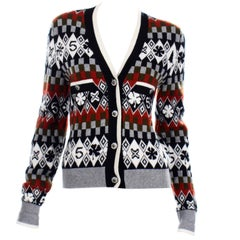 Chanel New With Tags 2019 Cardigan Sweater W Snowflakes Camellias and Number 5