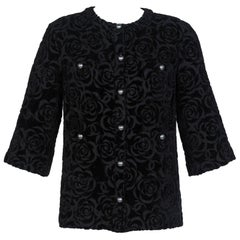 Chanel New with Tags Black Shimmer Cotton Velour Camellia Jacket Pre Fall, 2018