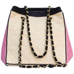 Chanel nice beige and pink raffia bag, 1996 – 1997