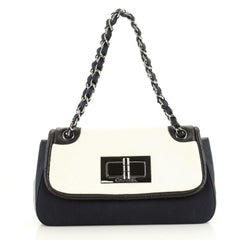 Chanel No.5 Giant Mademoiselle Lock Flap Bag Canvas with Leather