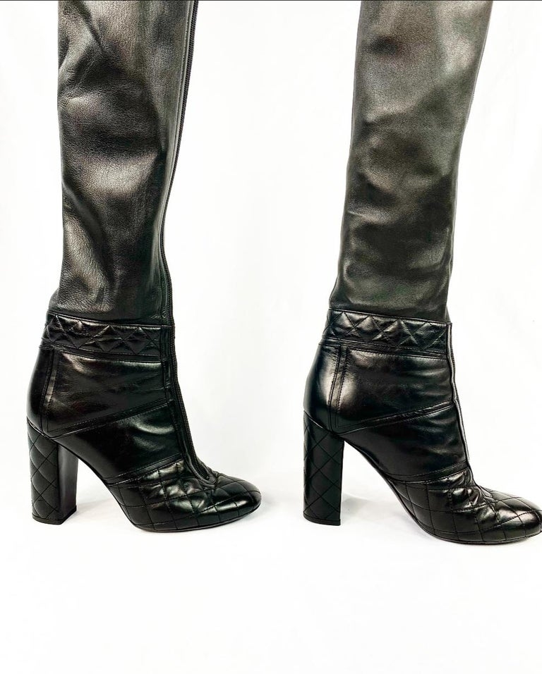 CHANEL Noir Black Quilted Leather Over Knee High Heel Front Zip Boots Size 39 For Sale 1