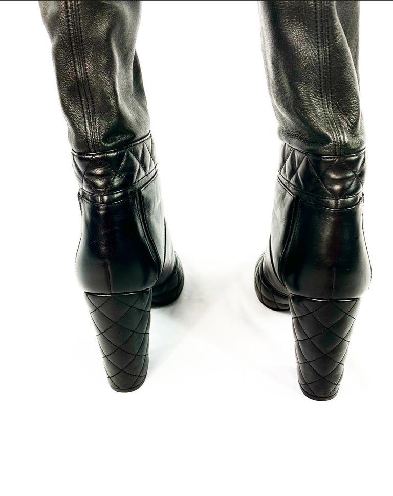 CHANEL Noir Black Quilted Leather Over Knee High Heel Front Zip Boots Size 39 For Sale 2