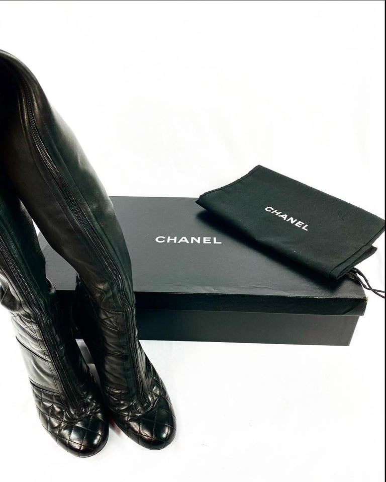 CHANEL Noir Black Quilted Leather Over Knee High Heel Front Zip Boots Size 39 For Sale 4