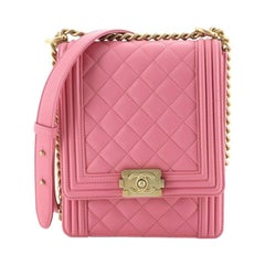 Chanel North South Boy Flap Bag Quilted Calfskin Small
