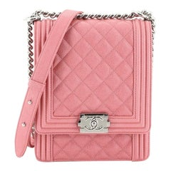Chanel North South Boy Flap Bag Quilted Caviar Small