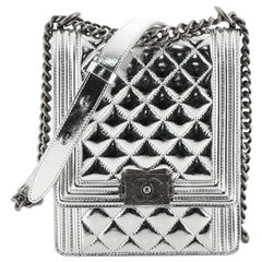 Chanel North South Boy Flap Bag Quilted Metallic Calfskin Small
