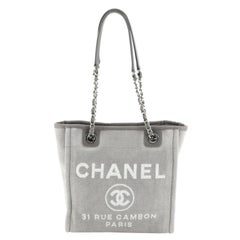 Chanel North South Deauville Tote Canvas Small