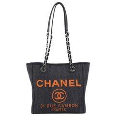 Chanel North South Deauville Tote Denim Small