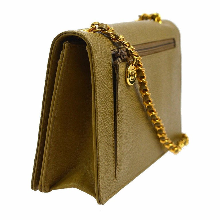 Brown Chanel Nude Beige Caviar Gold Evening Shoulder Crossbody WOC Flap Bag in Box For Sale