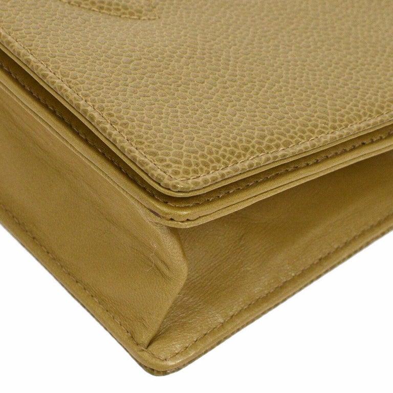 Women's Chanel Nude Beige Caviar Gold Evening Shoulder Crossbody WOC Flap Bag in Box For Sale