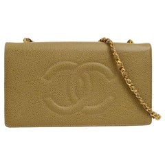 Chanel Nude Beige Caviar Gold Evening Shoulder Crossbody WOC Flap Bag in Box