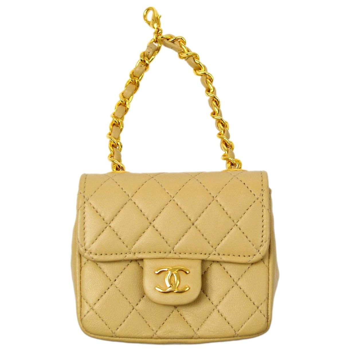 Chanel Nude Beige Leather Gold Small Mini Top Handle Pochette Flap Bag in Box