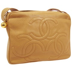 Chanel Nude Camel Caramel Leather CC Camera Carryall Shoulder Crossbody Bag