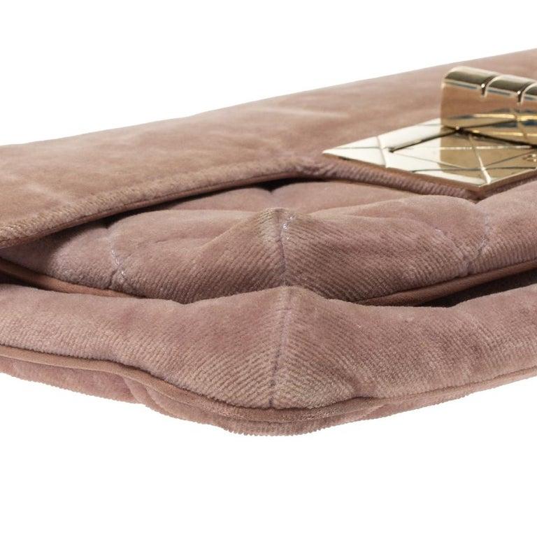 Chanel Nude Pink Velvet Mademoiselle Lock Flap Bag For Sale 6