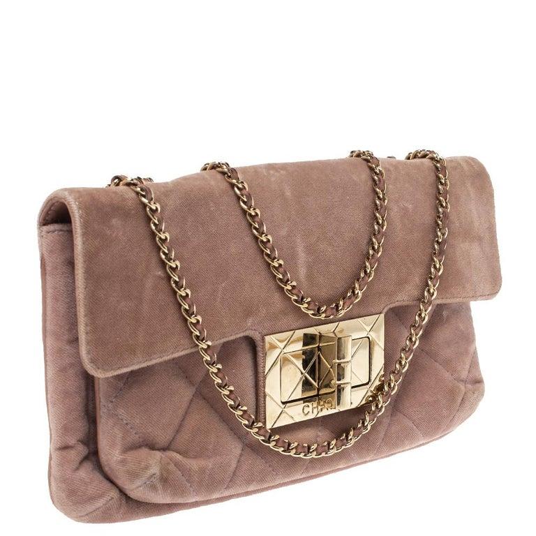 Women's Chanel Nude Pink Velvet Mademoiselle Lock Flap Bag For Sale