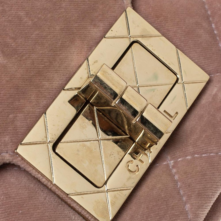 Chanel Nude Pink Velvet Mademoiselle Lock Flap Bag For Sale 2