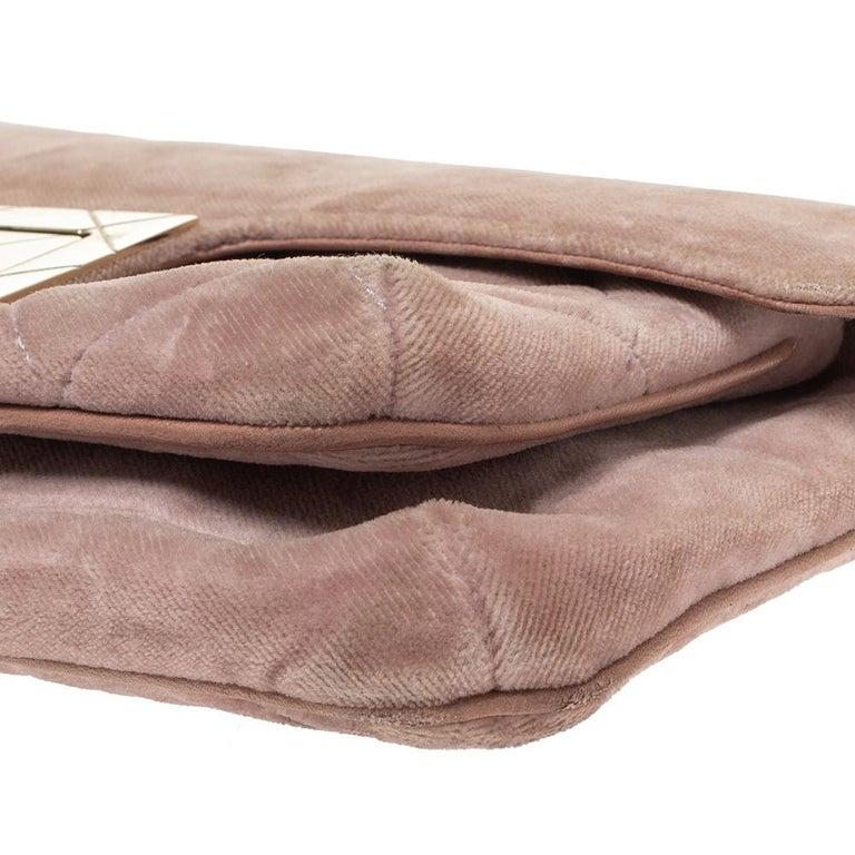 Chanel Nude Pink Velvet Mademoiselle Lock Flap Bag For Sale 4