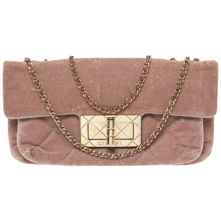 Chanel Nude Pink Velvet Mademoiselle Lock Flap Bag For Sale