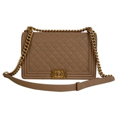 Chanel Nude Quilted Caviar Leather Large Boy Shoulder Bag