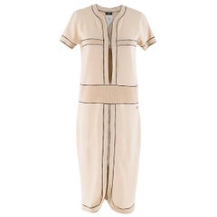 Chanel Nude Ribbed Knit Cut-Out Dress 38
