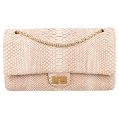 Chanel Nude Snakeskin Exotic Jumbo Leather Gold Evening Shoulder Flap Bag in Box