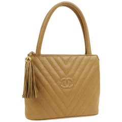 Chanel Nude Tan Caviar Leather Chevron Small Evening Top Handle Shoulder Bag