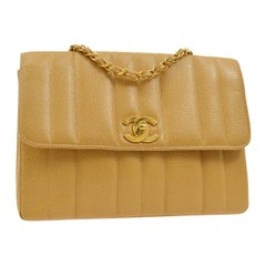 Chanel Nude Tan Caviar Leather Gold Evening Shoulder Flap Bag