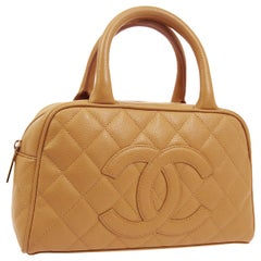 Chanel Nude Tan Leather Gold Boston Small Top Handle Satchel Bag