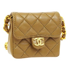 Chanel Nude Tan Leather Gold Micro Mini Shoulder Flap Bag in Box